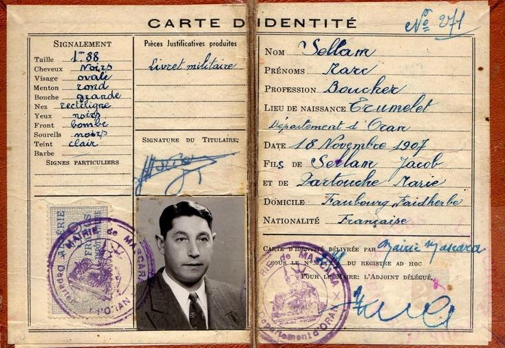 Carte Identite Algerie.Carte Identite Mascara Algerie De Ma Jeunesse